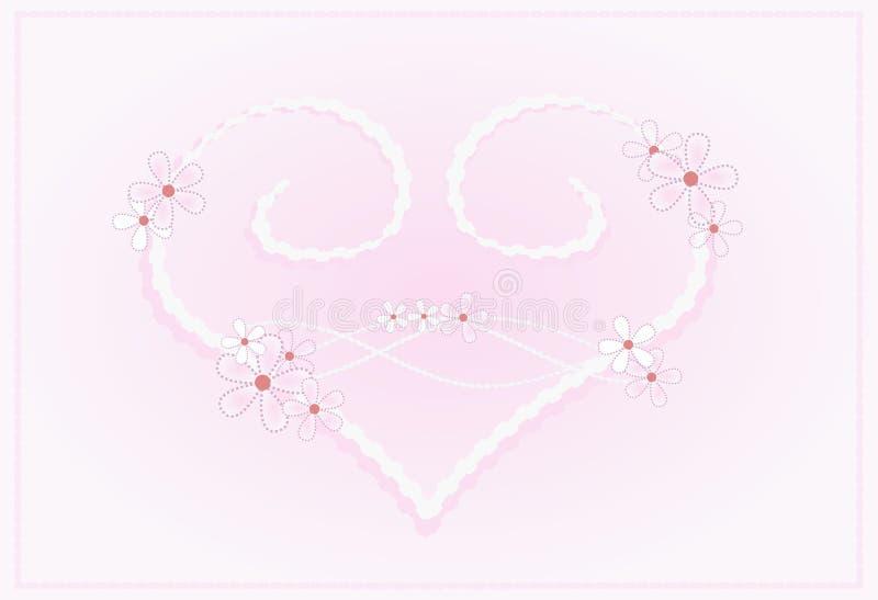 ροζ κρητιδογραφιών καρδιών διανυσματική απεικόνιση
