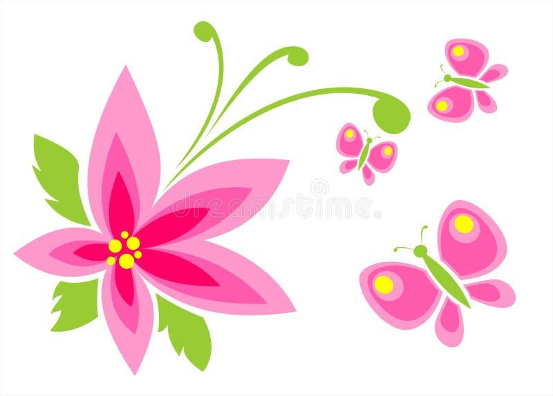 ροζ λουλουδιών πεταλούδων διανυσματική απεικόνιση