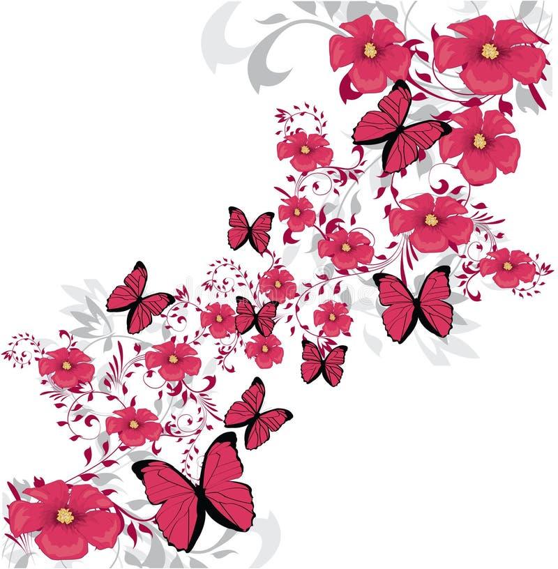 ροζ λουλουδιών σχεδίο ελεύθερη απεικόνιση δικαιώματος