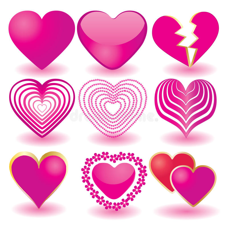 ροζ μερών 2 καρδιών ελεύθερη απεικόνιση δικαιώματος