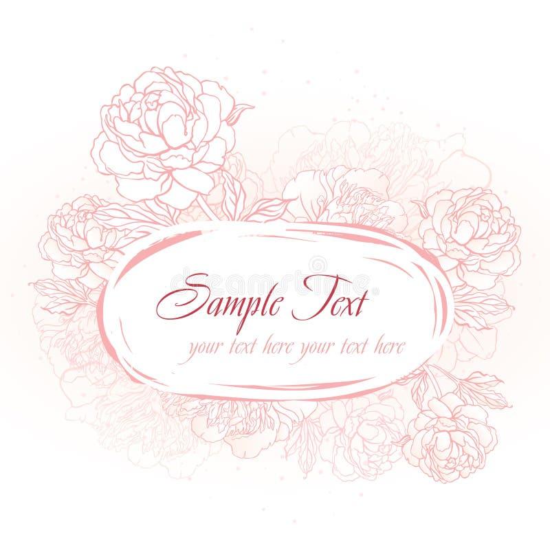 ροζ πλαισίων peonies ρομαντικό διανυσματική απεικόνιση