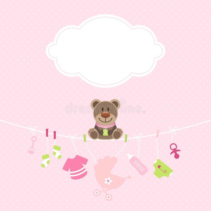 Ροζ σημείων σύννεφων κοριτσιών εικονιδίων μωρών ένωσης Teddy και πράσινος ελεύθερη απεικόνιση δικαιώματος