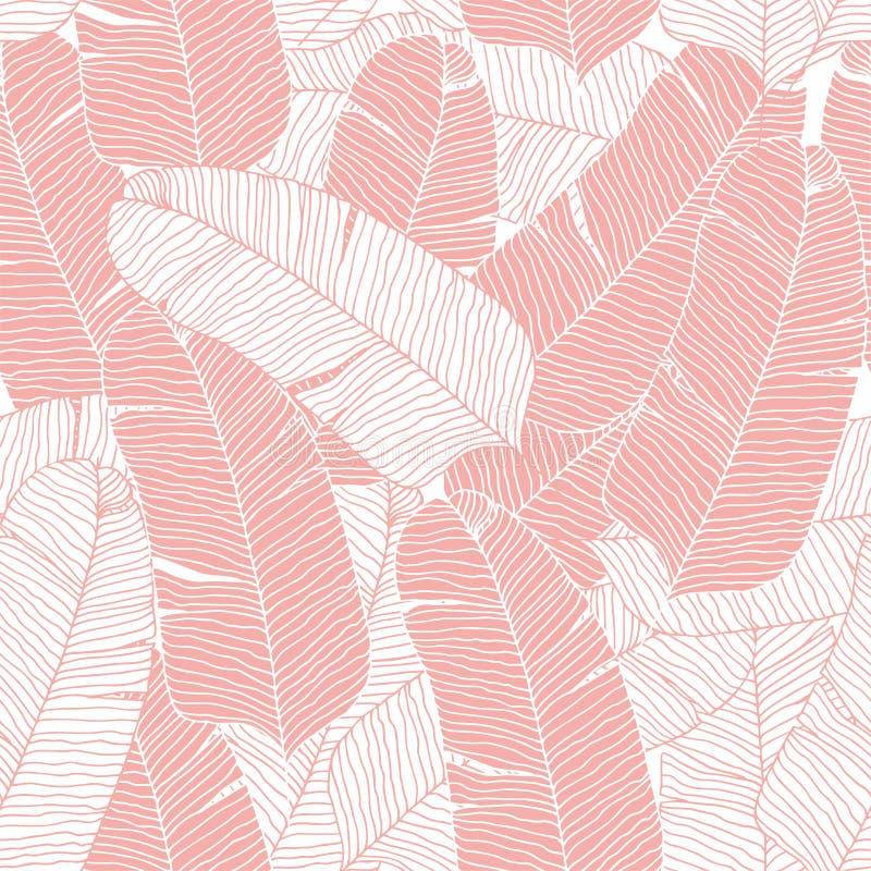 Ροζ τροπική παλάμη μπανάνας αφήνει αδιάλειπτο φόντο μοτίβου διανύσματος ελεύθερη απεικόνιση δικαιώματος