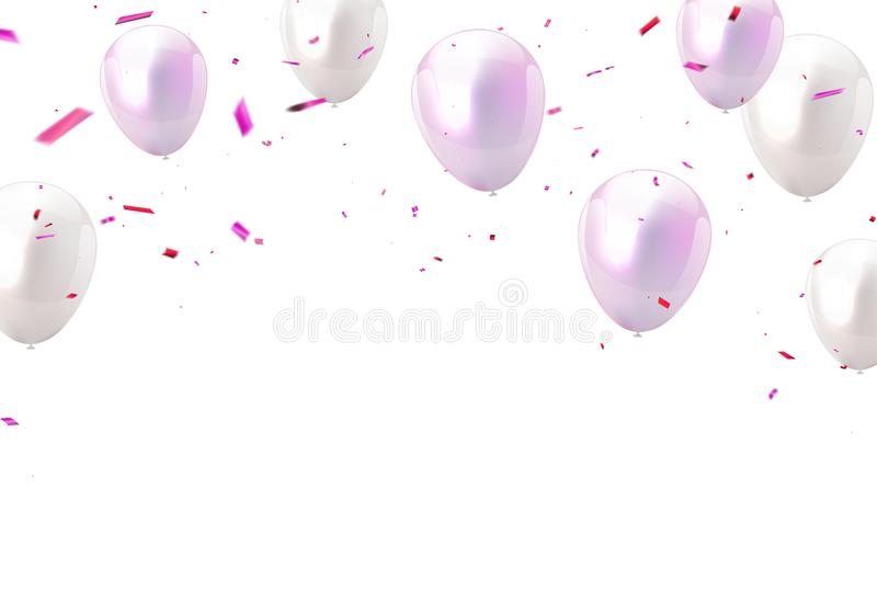 Ροζ χρώματος Baloon και άσπρος, κορδέλλες κομφετί πολυτέλεια που χαιρετά την πλούσια κάρτα ελεύθερη απεικόνιση δικαιώματος