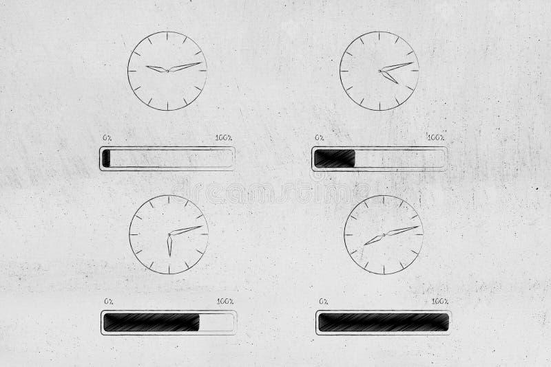 Ρολόγια με tim κοντά και φραγμοί προόδου που ταιριάζουν με τους κατωτέρω στοκ φωτογραφίες με δικαίωμα ελεύθερης χρήσης