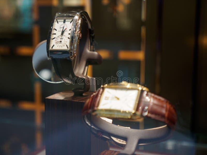 Ρολόγια του Philippe Patek στην επίδειξη, Μπανγκόκ, Ταϊλάνδη στοκ εικόνες