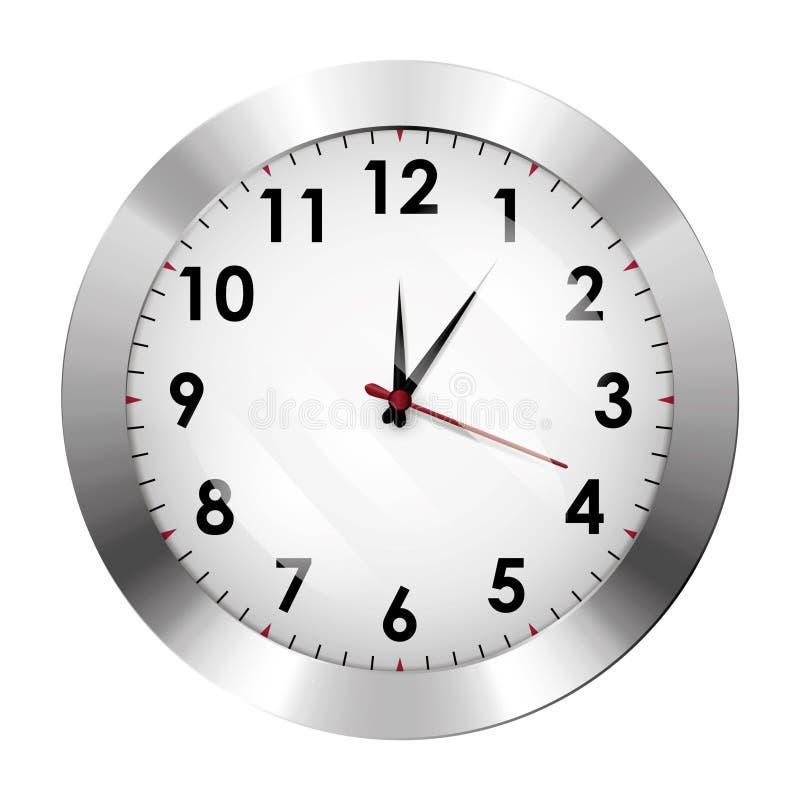 ρολόι ανασκόπησης που απομονώνεται πέρα από το λευκό τοίχων Πλαίσιο χρωμίου μετάλλων ελεύθερη απεικόνιση δικαιώματος
