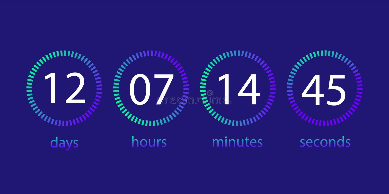 Ρολόι αντίστροφης μέτρησης Πίνακας βαθμολογίας της ημέρας, ώρα, λεπτό, δεύτερο Ενδιάμεσο με τον χρήστη ελεύθερη απεικόνιση δικαιώματος