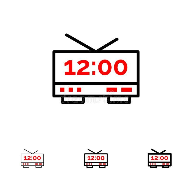 Ρολόι, ηλεκτρικός, χρόνος, τολμηρό και λεπτό μαύρο σύνολο εικονιδίων γραμμών μηχανών ελεύθερη απεικόνιση δικαιώματος