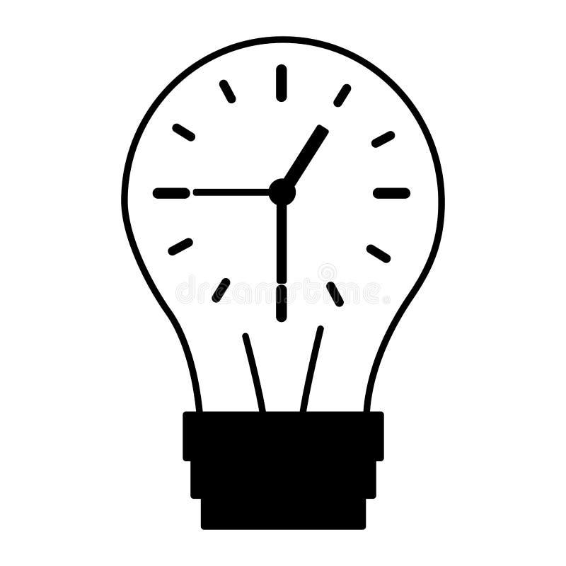 Ρολόι μέσα στη χρονική δημιουργικότητα βολβών διανυσματική απεικόνιση