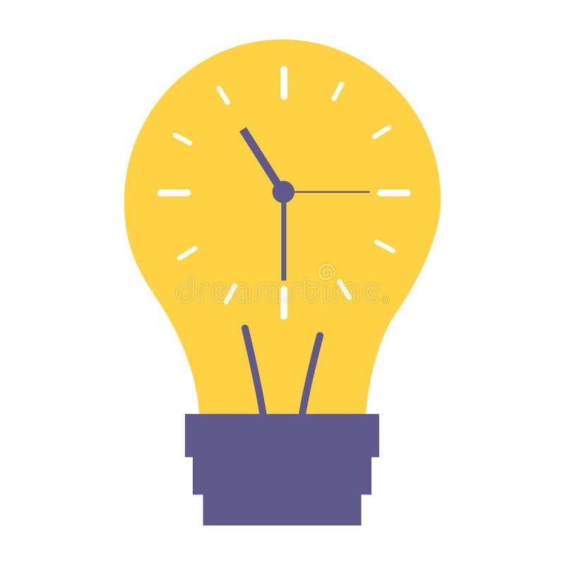 Ρολόι μέσα στη χρονική δημιουργικότητα βολβών απεικόνιση αποθεμάτων