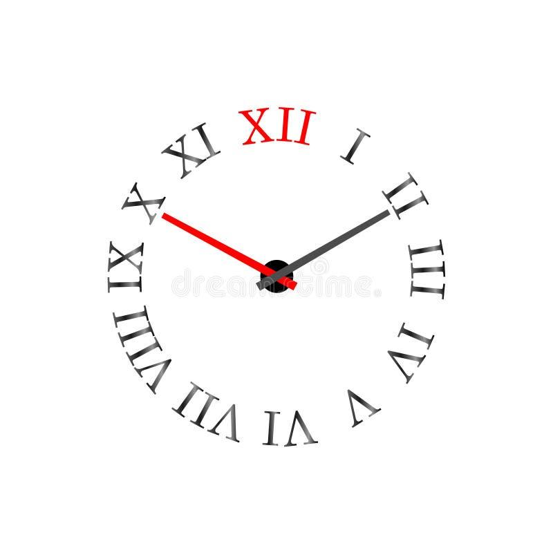 Ρολόι με λατινικά αριθμητικά ψηφία στην κλήση Απεικόνιση διανύσματος διανυσματική απεικόνιση