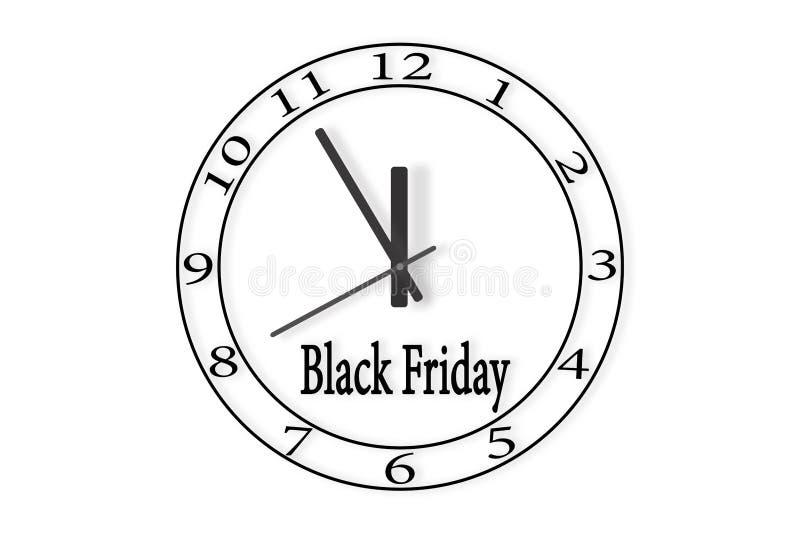 Ρολόι με τη μαύρη Παρασκευή επιγραφής Χρόνος στο ρολόι 23: 5 ελεύθερη απεικόνιση δικαιώματος