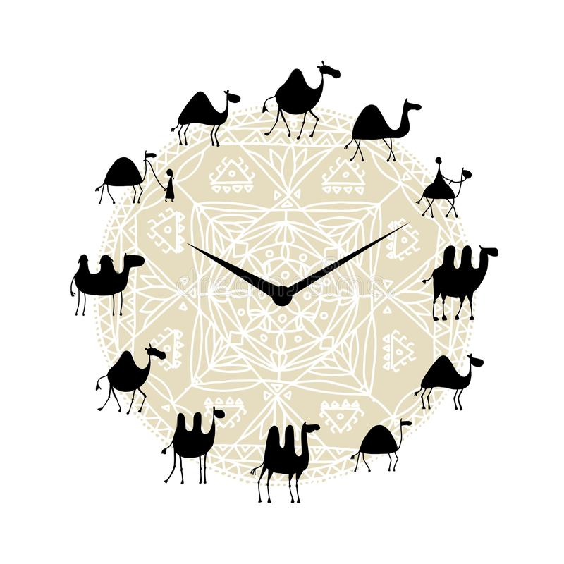 Ρολόι με το σχέδιο σκιαγραφιών καμηλών διανυσματική απεικόνιση