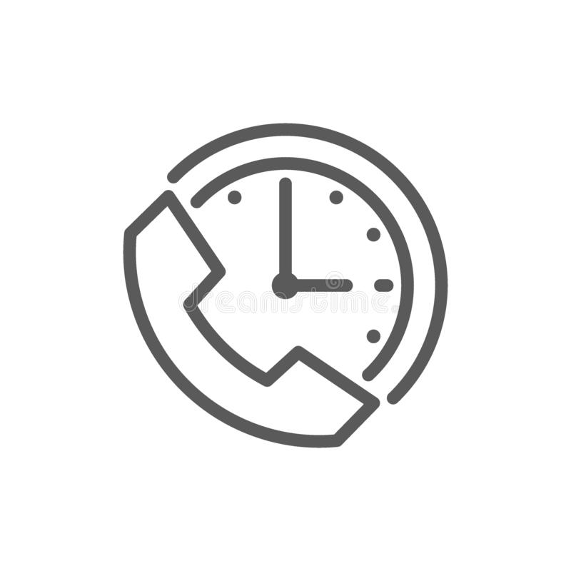 Ρολόι με το τηλέφωνο, χρόνος υποστήριξης, εικονίδιο γραμμών υπηρεσιών 24 ωρών διανυσματική απεικόνιση