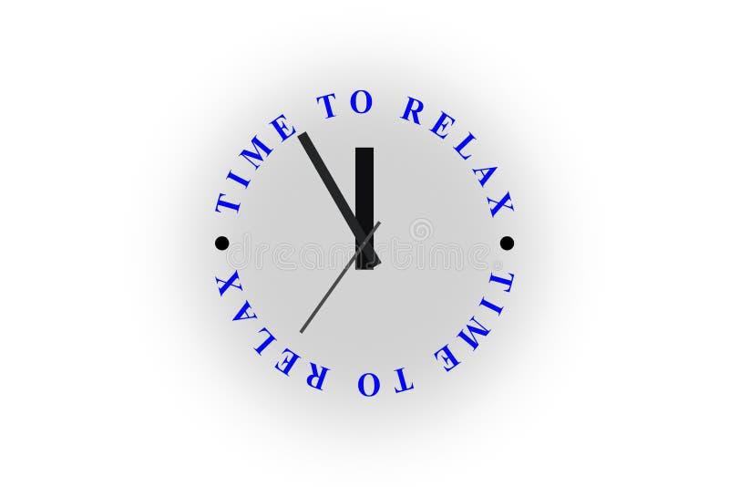 Ρολόι με το ΧΡΟΝΟ λέξεων ΝΑ ΧΑΛΑΡΩΣΕΙ Το ρολόι είναι 23: 55 διανυσματική απεικόνιση