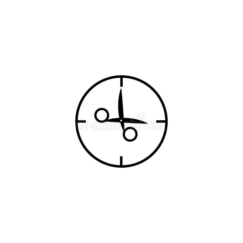 Ρολόι με το ψαλίδι αντί του σημαδιού βελών τρεις η ώρα διανυσματική απεικόνιση