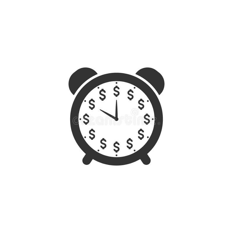 Ρολόι πινάκων, παραδοσιακό ρολόι συναγερμών με το διανυσματικό εικονίδιο ψηφίων δολαρίων απεικόνιση αποθεμάτων