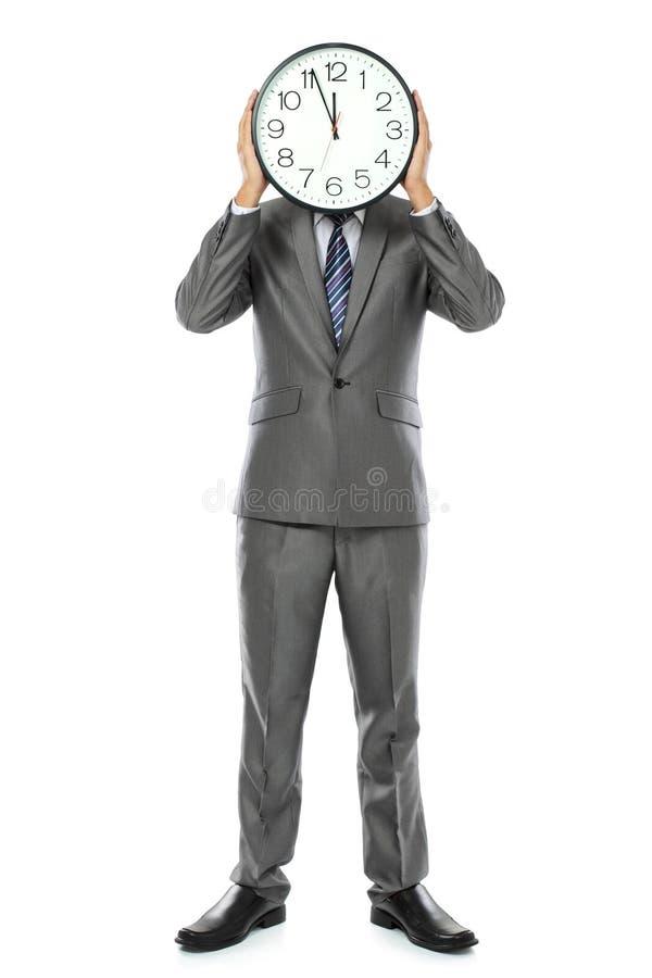 ρολόι που καλύπτει το πρόσωπο το άτομό του στοκ φωτογραφία με δικαίωμα ελεύθερης χρήσης