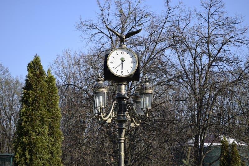 Ρολόι σε έναν λαμπτήρα οδών Ουκρανία, Kharkov, Feldman Ecopark στοκ φωτογραφία με δικαίωμα ελεύθερης χρήσης