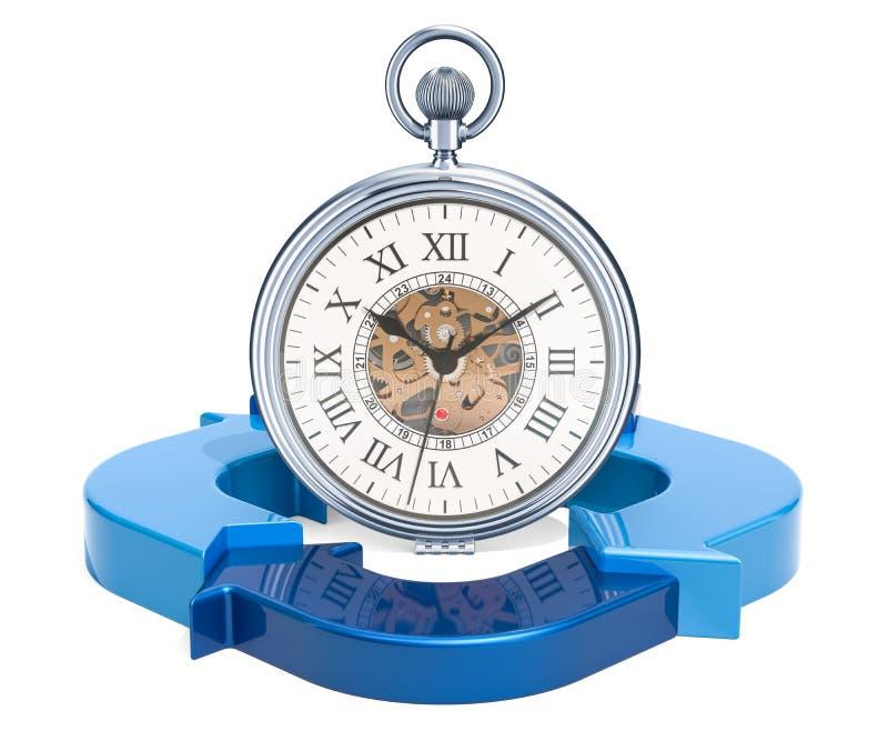 Ρολόι τσεπών με τα μπλε βέλη Έννοια χρονικής διαχείρισης, τρισδιάστατο rende διανυσματική απεικόνιση