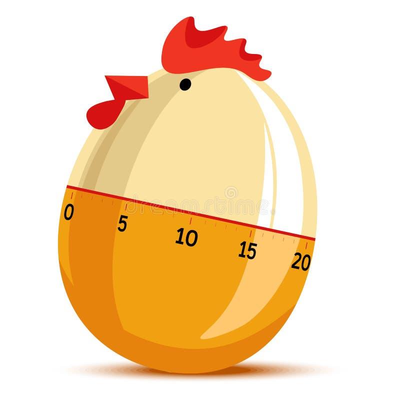 Ρολόι χρονομέτρων αυγών με μορφή μαγειρέματος ρολογιών κοτόπουλου κοτών διανυσματική απεικόνιση