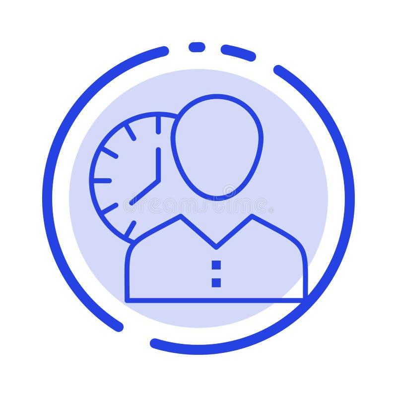 Ρολόι, ώρες, άτομο, προσωπικό, σχέδιο, χρόνος, συγχρονισμός, μπλε εικονίδιο γραμμών διαστιγμένων γραμμών χρηστών διανυσματική απεικόνιση