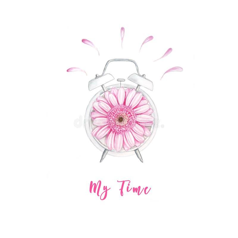 Ρολόι Watercolor με το λουλούδι και την εγγραφή ελεύθερη απεικόνιση δικαιώματος