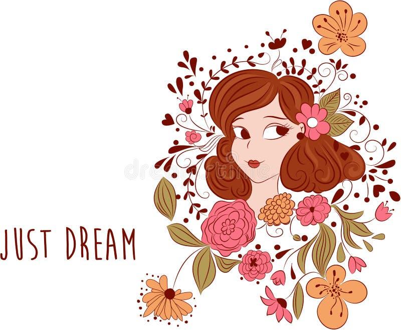 Ρομαντικά λουλούδια και κορίτσι κινούμενων σχεδίων Ακριβώς μήνυμα ονείρου διανυσματική απεικόνιση