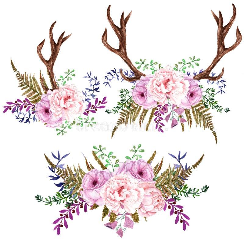 Ρομαντικά τριαντάφυλλα πνεύματος ανθοδεσμών Watercolor brunches και πέταλα διανυσματική απεικόνιση