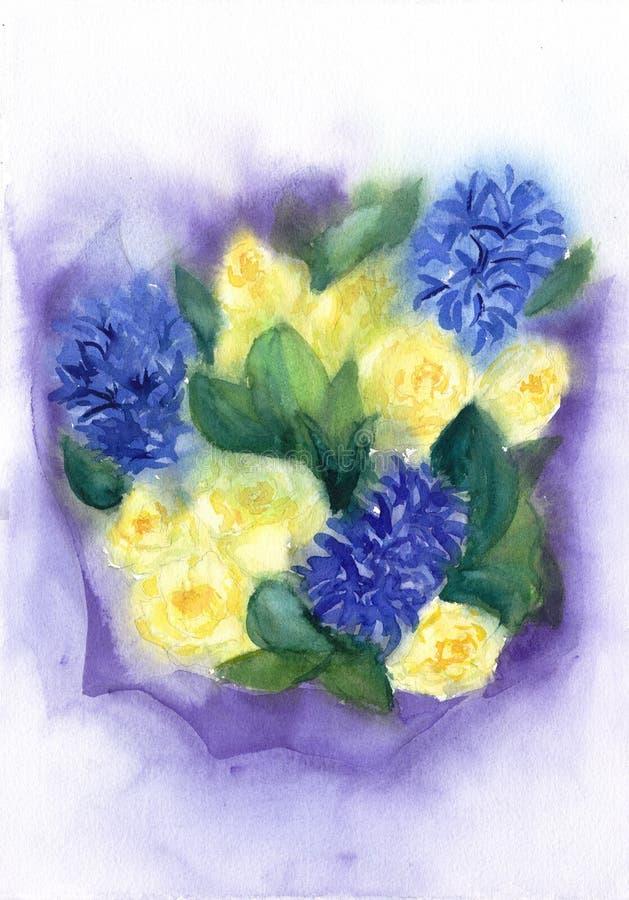 Ρομαντική ανθοδέσμη των λουλουδιών Κίτρινα τριαντάφυλλα και μπλε υάκινθος Floral απεικόνιση Watercolor Υγρός στην υγρή τεχνική Γι στοκ φωτογραφίες με δικαίωμα ελεύθερης χρήσης