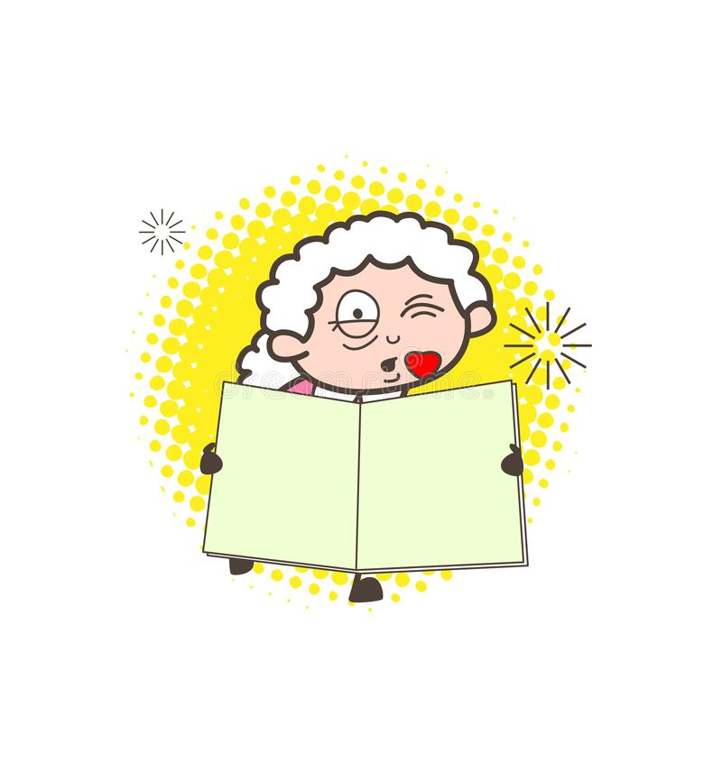 Ρομαντική γιαγιά κινούμενων σχεδίων που φιλά και που παρουσιάζει σε ένα βιβλίο διανυσματική απεικόνιση απεικόνιση αποθεμάτων
