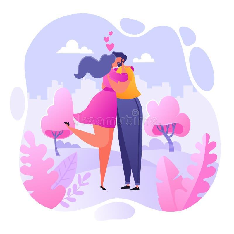 Ρομαντική διανυσματική απεικόνιση στο θέμα ιστορίας αγάπης Ο ευτυχής επίπεδος χαρακτήρας ανθρώπων αγκαλιάζει και φιλά Χ απεικόνιση αποθεμάτων