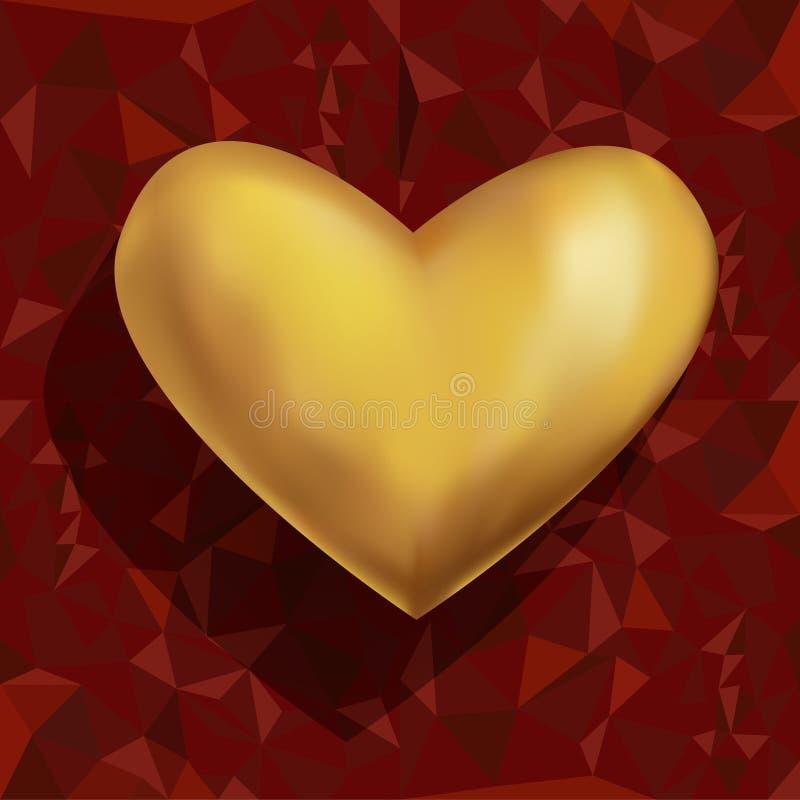 Ρομαντική διανυσματική απεικόνιση της όμορφης ρεαλιστικής τρισδιάστατης χρυσής καρδιάς σε κόκκινο polygonal τυλίγοντας χαρτί ελεύθερη απεικόνιση δικαιώματος