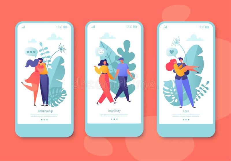 Ρομαντική διανυσματική κινητή app απεικόνισης σελίδα, σύνολο οθόνης Ο ευτυχής επίπεδος χαρακτήρας ανθρώπων αγκαλιάζει και φιλά διανυσματική απεικόνιση