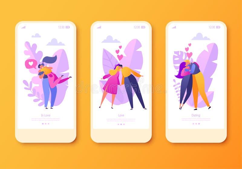Ρομαντική διανυσματική κινητή app απεικόνισης σελίδα, σύνολο οθόνης Ο ευτυχής επίπεδος χαρακτήρας ανθρώπων αγκαλιάζει και φιλά ελεύθερη απεικόνιση δικαιώματος