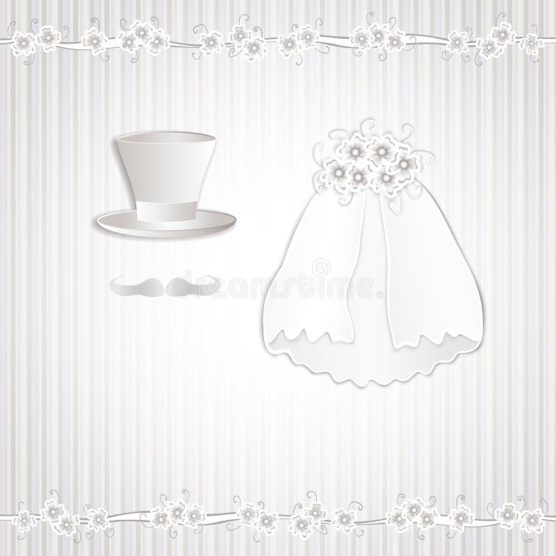Ρομαντική εκλεκτής ποιότητας γαμήλια πρόσκληση ύφους απεικόνιση αποθεμάτων
