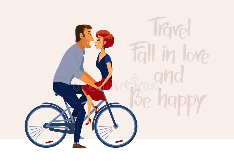 Ρομαντική εμπνευσμένη αφίσα με το ερωτευμένο οδηγώντας ποδήλατο ζευγών ελεύθερη απεικόνιση δικαιώματος