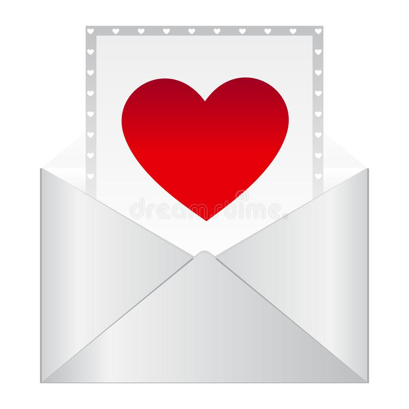 Ρομαντική επιστολή Εικονίδιο μηνυμάτων επιστολών αγάπης Κόκκινος άσπρος φάκελος ανοιχτών γράμμα καρδιών r διανυσματική απεικόνιση