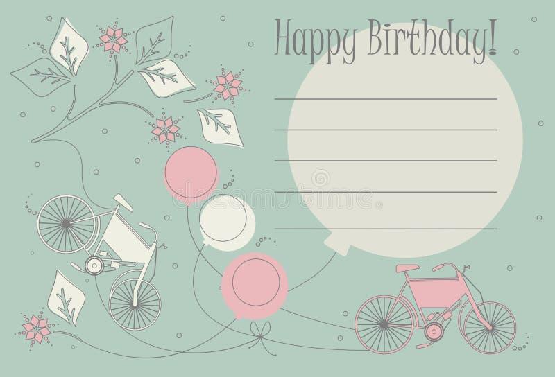 Ρομαντική κάρτα γενεθλίων με τα χαριτωμένα ποδήλατα, τα μπαλόνια και τα λουλούδια διανυσματική απεικόνιση
