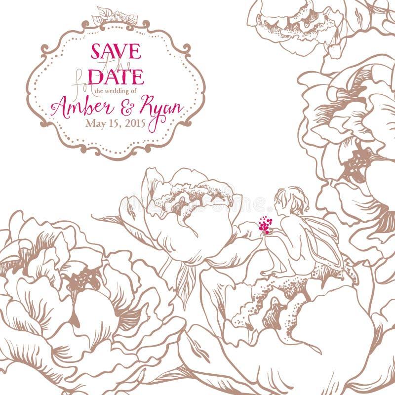 Ρομαντική κάρτα πρόσκλησης με τα λουλούδια και χαριτωμένος λίγη νεράιδα διανυσματική απεικόνιση