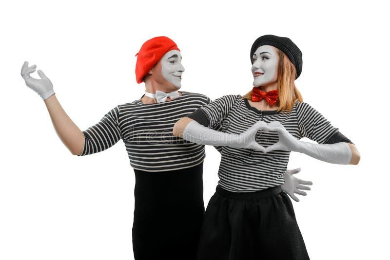 Ρομαντική σκηνή δύο mimes στοκ εικόνες