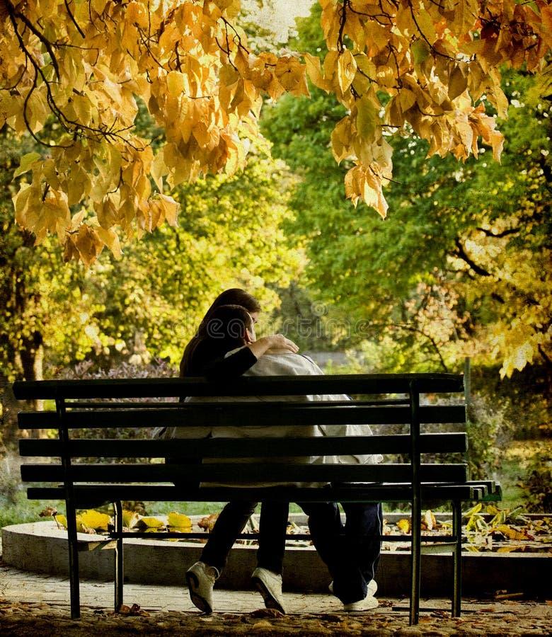 Ρομαντική συνεδρίαση ζευγών στο πάρκο φθινοπώρου στοκ εικόνες με δικαίωμα ελεύθερης χρήσης