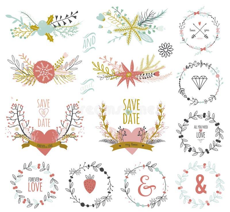 Ρομαντική συρμένη χέρι συλλογή των laurels, στεφάνια απεικόνιση αποθεμάτων