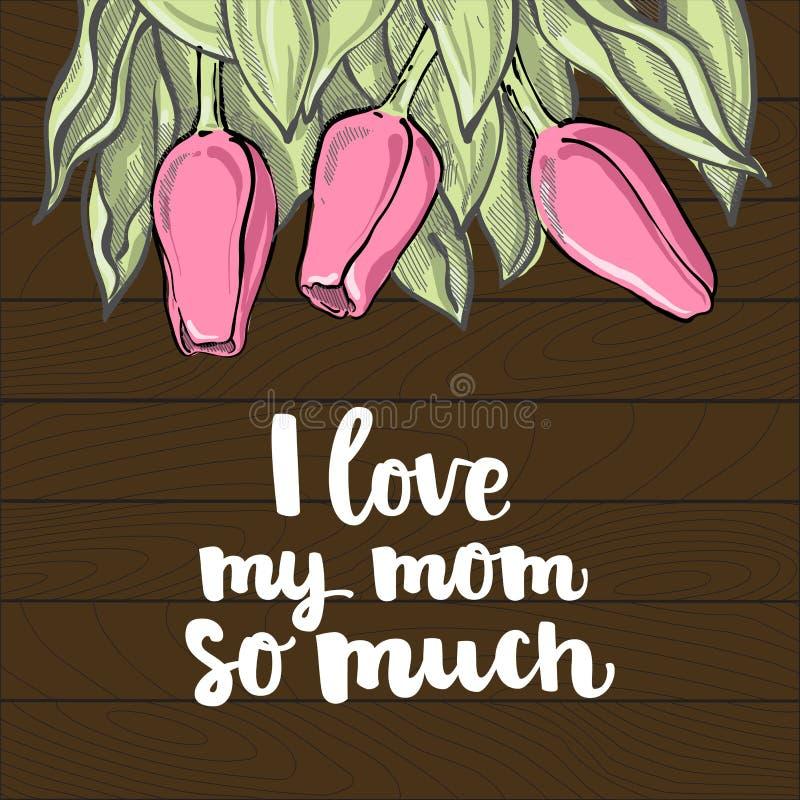 Ρομαντική σύνθεση τουλιπών με την εγγραφή ημέρας μητέρων ` s, αγαπώ το μ ελεύθερη απεικόνιση δικαιώματος
