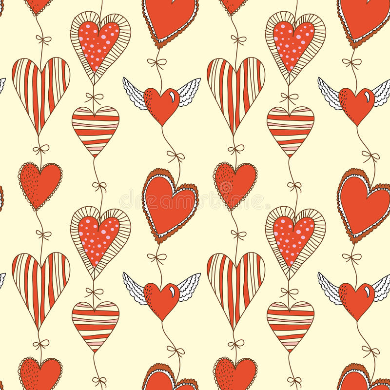 ρομαντικός άνευ ραφής προτύπων καρδιών κινούμενων σχεδίων διανυσματική απεικόνιση