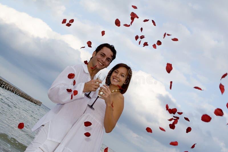 ρομαντικός γάμος παραλιών στοκ εικόνα με δικαίωμα ελεύθερης χρήσης