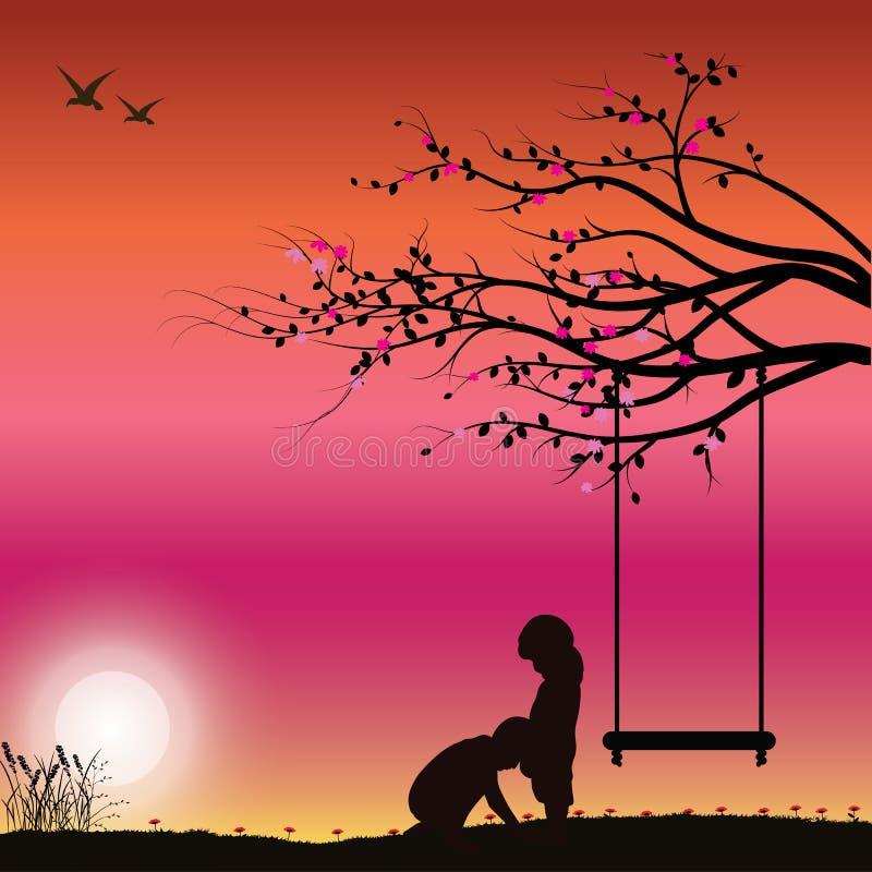 Ρομαντικός κάτω από το δέντρο, διανυσματικές απεικονίσεις στοκ φωτογραφία