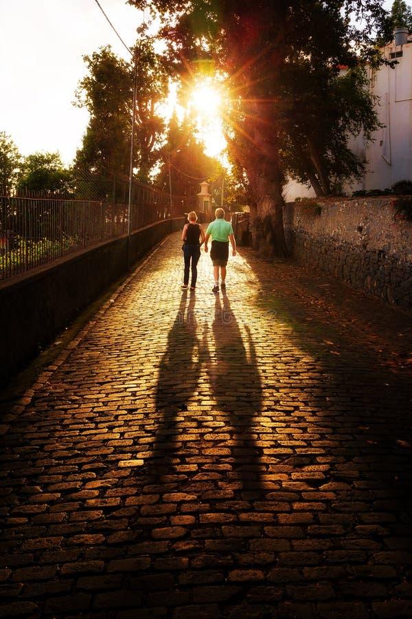 Ρομαντικός περίπατος Μαδέρα ζευγών στοκ εικόνα με δικαίωμα ελεύθερης χρήσης