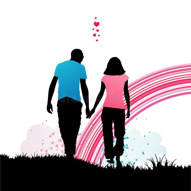 ρομαντικός περίπατος διανυσματική απεικόνιση